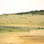 """Dry Swamp Ground""  2003  gouache on archival paper  55 x 75cm."