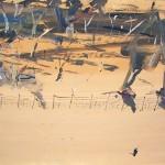 """Edge of Trees""   2003  gouache on archival paper  55 x 75cm."
