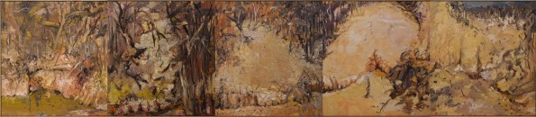 """""""Gully""""  2000  archival oil on polyester canvas  122 x 552 cm."""