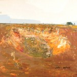 """The Dry Dam, Bedervale""  2004  archival oil on polyester canvas  190.5 x 199cm. Orange Regional Gallery collection"