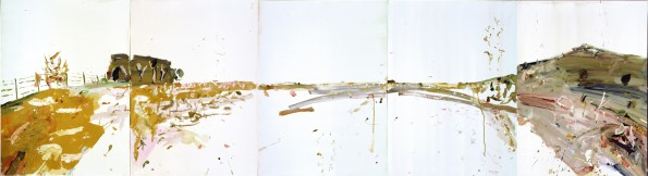 """""""Bedervale South Walking""""  2005  gouache on archival paper  75 x 275 cm. Private collection Perth."""