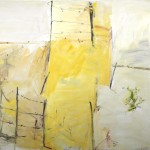 """View of a Fence""  2007  archival oil on polyester canvas  175 .5 x 205 cm. Working in the Landscape, 2007 Utopia Art Sydney."