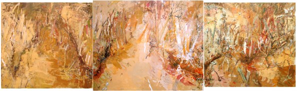 """Quaternary Gully""  2004  archival oil on canvas  3 panels  173.5 x 183 cm (left panel); 182.5 x 220 cm (middle panel); 171 x 183.5 cm (right panel)."