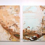 """Gully in two parts""  2004  diptych: archival oils on polyester canvas"