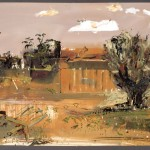 """Backyard""  2004  gouache on archival paper  55 x 75 cm."