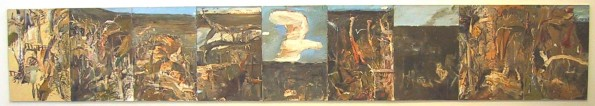 Shoalhaven Ridge 2001, oil on canvas, 9 panels.  Artbank Collection, currently leased to a client in ACT.