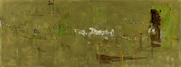 'Shed Interior' 2010 archival oil on polyester canvas 177 x 475cm.