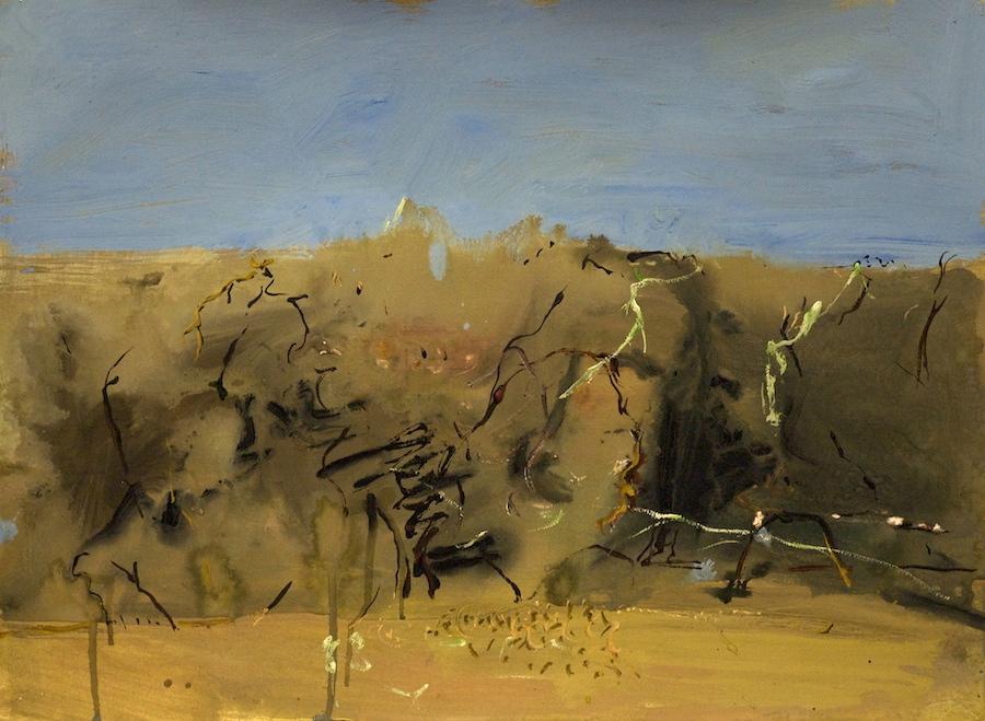 'Winter in the Plum Hedge' gouache on paper56 x 76 cm