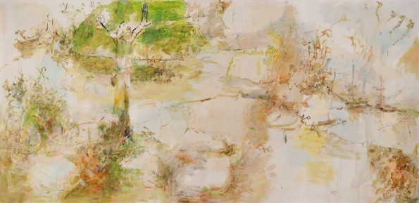 Flood Creek approaching summer 2014, archival oil on polyester canvas, 168.5 x 345 cm