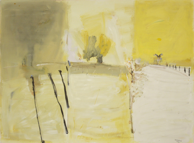 'Ridgewalking Paddock' 2007 archival oil on polyester canvas 136 x 183.5cm. Collection of Allens Arthur Robinson.