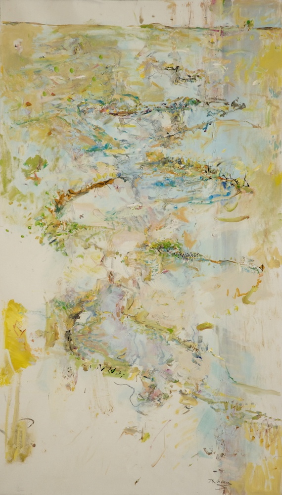'Chain of ponds' 2012/13 archival oil on polyester canvas, 148 x 85cm.