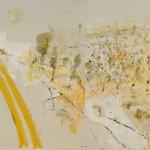 John R Walker, Doughboy track 2013, archival oil on polyester canvas, 109.5 x 168cm (diptych).