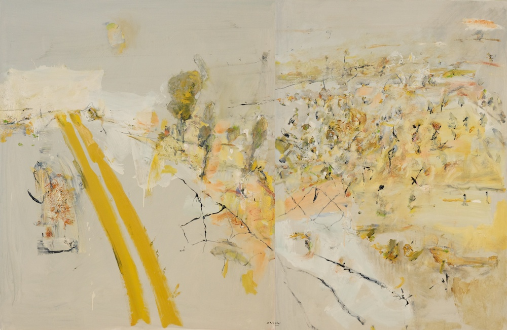 'Doughboy track' 2013 archival oil on polyester canvas, 109.5 x 168cm (diptych).