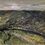 """View from Arthur's spot of Calypso Creek"" 2001-2 gouache on archival paper 55 x 75 cm."